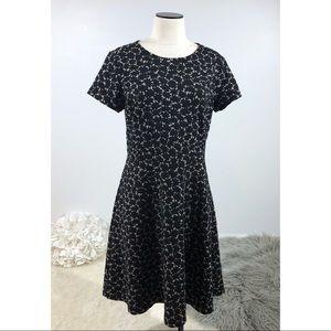 LOFT A-line Dress Black maple Leaf Embossed Print